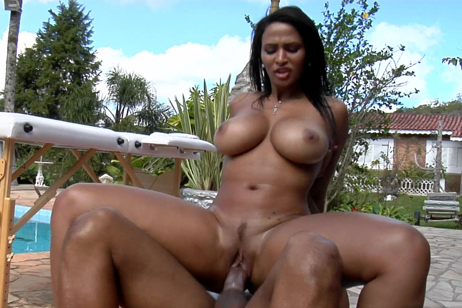 Massaging nude latino couples